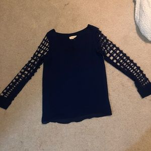 long sleeves blouse navy blue texture sleeves